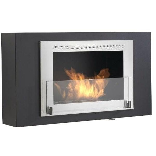 "Eco-Feu Brooklyn 33"" Black Wall Mounted Ethanol Fireplace w/ Stainless Molding WU-00173-Modern Ethanol Fireplaces"