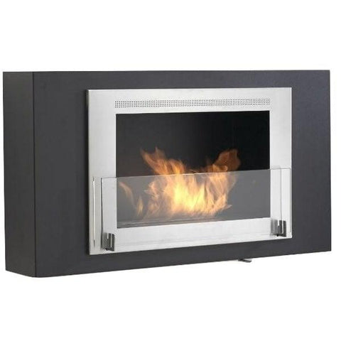 "Image of Eco-Feu Brooklyn 33"" Black Wall Mounted Ethanol Fireplace w/ Stainless Molding WU-00173-Modern Ethanol Fireplaces"