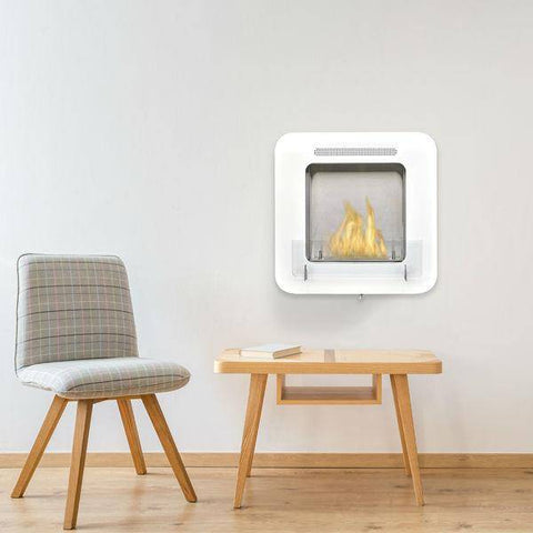 "Eco-Feu Cosy 20"" Gloss White Wall Mounted Ethanol Fireplace WS-00171-Modern Ethanol Fireplaces"