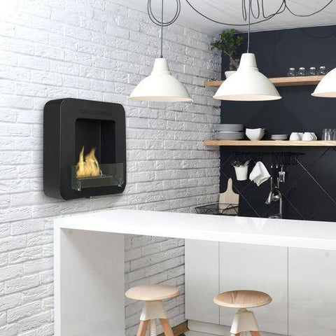 "Image of Eco-Feu Cosy 20"" Matte Black Wall Mounted Ethanol Fireplace WS-00169-Modern Ethanol Fireplaces"