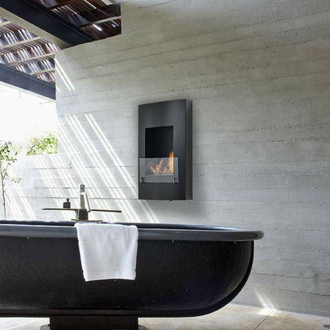 "Image of Eco-Feu Hollywood 18"" Matte Black Wall Mounted Ethanol Fireplace WU-00146-Modern Ethanol Fireplaces"