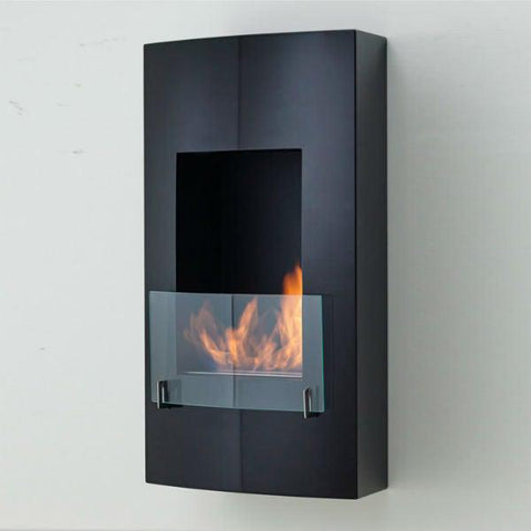 "Eco-Feu Hollywood 18"" Matte Black Wall Mounted Ethanol Fireplace WU-00146-Modern Ethanol Fireplaces"