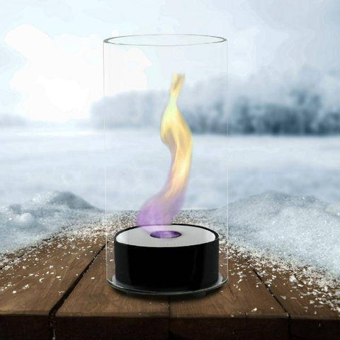 "Image of Eco-Feu Juliette 5"" Black Tabletop Ethanol Fireplace w/ Fuel TT-00101-Modern Ethanol Fireplaces"