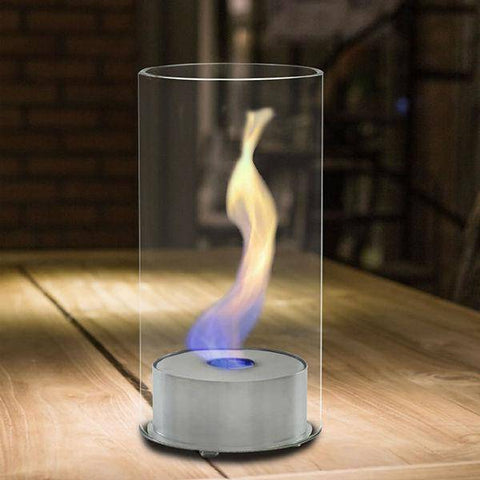 "Image of Eco-Feu Juliette 5"" Stainless Steel Tabletop Ethanol Fireplace w/ Fuel TT-00101-Modern Ethanol Fireplaces"