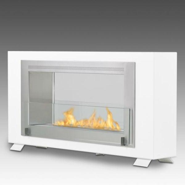 "Eco-Feu Montreal 41"" Gloss White 2-Sided Ventless Ethanol Fireplace WS-00139-Modern Ethanol Fireplaces"