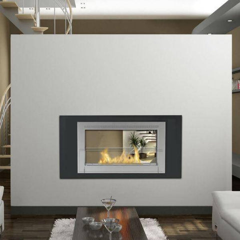 "Image of Eco-Feu Montreal 41"" Matte Black 2-Sided Ventless Ethanol Fireplace WS-00131-Modern Ethanol Fireplaces"