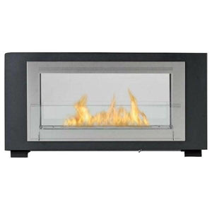 "Eco-Feu Montreal 41"" Matte Black 2-Sided Ventless Ethanol Fireplace WS-00131-Modern Ethanol Fireplaces"