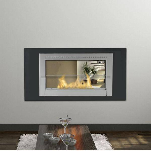 "Eco-Feu Montreal 41"" Matte Black 2-Sided Ventless Ethanol Fireplace w/ Molding WS-00166-Modern Ethanol Fireplaces"