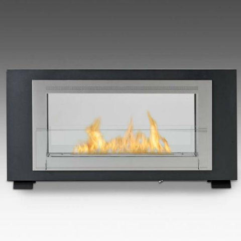 "Image of Eco-Feu Montreal 41"" Matte Black 2-Sided Ventless Ethanol Fireplace w/ Molding WS-00166-Modern Ethanol Fireplaces"