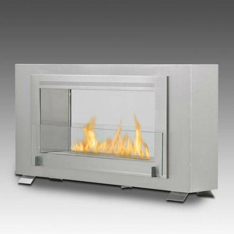 "Image of Eco-Feu Montreal 41"" Stainless Steel 2-Sided Ventless Ethanol Fireplace WS-00133-Modern Ethanol Fireplaces"