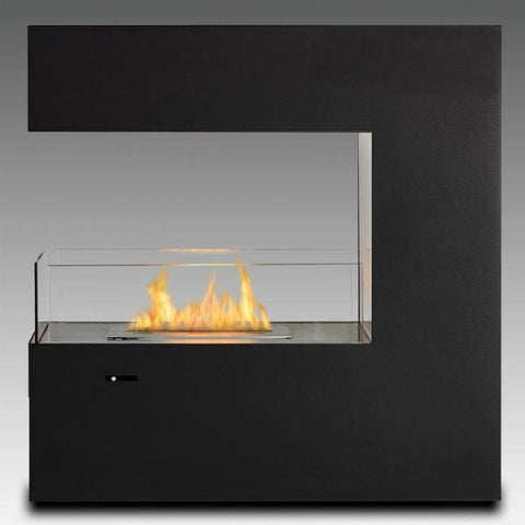 "Eco-Feu Paramount 35"" Black Freestanding Ethanol Fireplace w/ Spout FS-00083-Modern Ethanol Fireplaces"