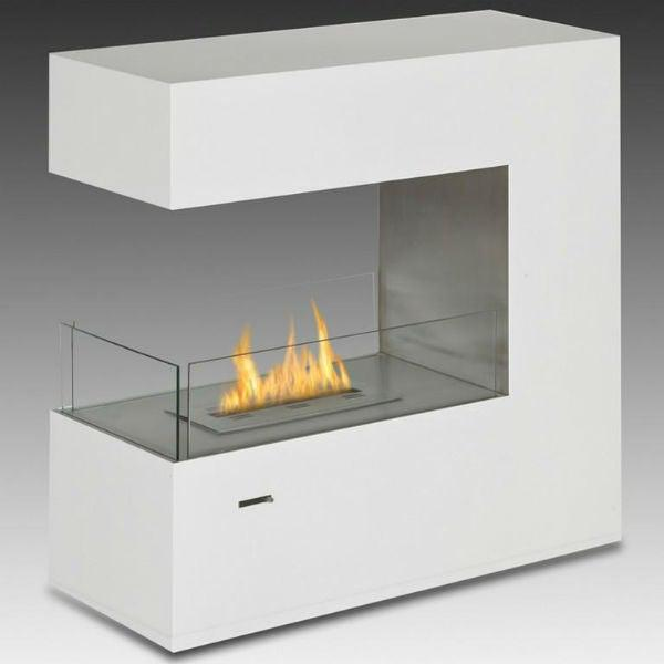 "Eco-Feu Paramount 35"" White Freestanding Ethanol Fireplace w/ Spout FS-00082-Modern Ethanol Fireplaces"