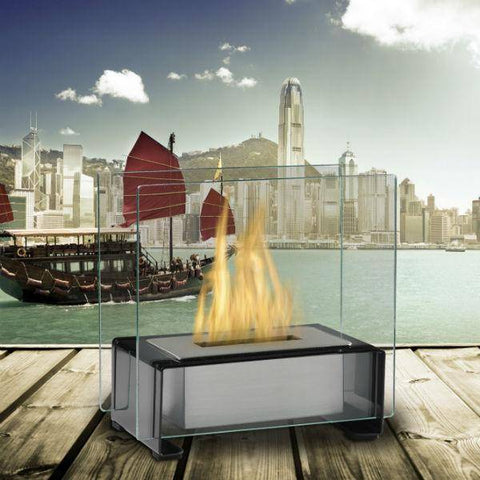 "Image of Eco-Feu Paris 7"" Black Tabletop Ethanol Fireplace with Fuel TT-00134-Modern Ethanol Fireplaces"