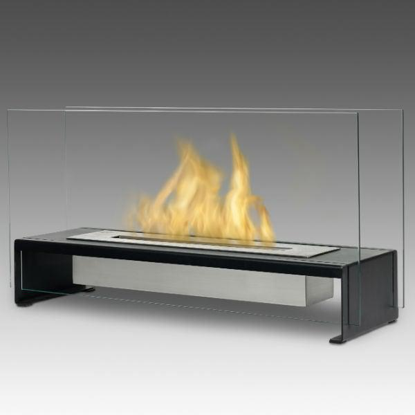 "Eco-Feu Rio 23"" Black Tabletop Ethanol Fireplace with Fuel TT-00176-Modern Ethanol Fireplaces"