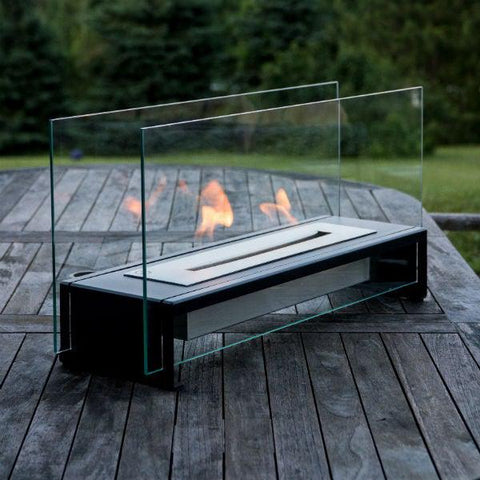"Image of Eco-Feu Rio 23"" Black Tabletop Ethanol Fireplace with Fuel TT-00176-Modern Ethanol Fireplaces"