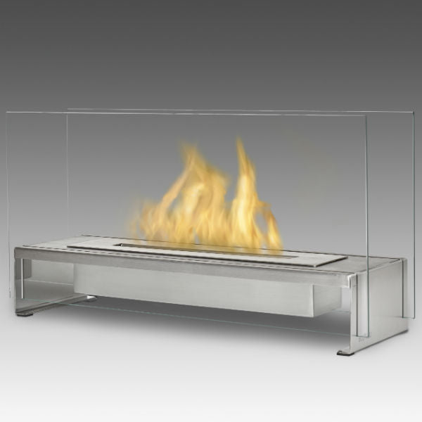 "Eco-Feu Rio 23"" Stainless Steel Tabletop Ethanol Fireplace with Fuel TT-00177-Modern Ethanol Fireplaces"
