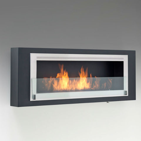 "Eco-Feu Santa Cruz 63"" Black Wall Ethanol Fireplace w/ Spout WU-00087-Modern Ethanol Fireplaces"
