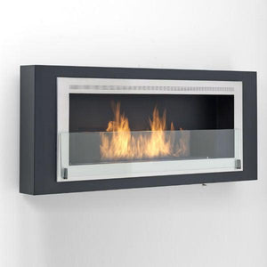 "Eco-Feu Santa Lucia 54"" Black Wall Ethanol Fireplace w/ Stainless Molding WU-00180-Modern Ethanol Fireplaces"