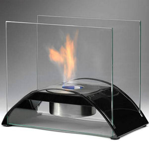 "Eco-Feu Sunset 10"" Gloss Black Tabletop Ethanol Fireplace with Fuel TT-00113-Modern Ethanol Fireplaces"