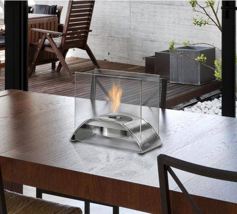 "Eco-Feu Sunset 10"" Stainless Steel Tabletop Ethanol Fireplace with Fuel TT-00114-Modern Ethanol Fireplaces"
