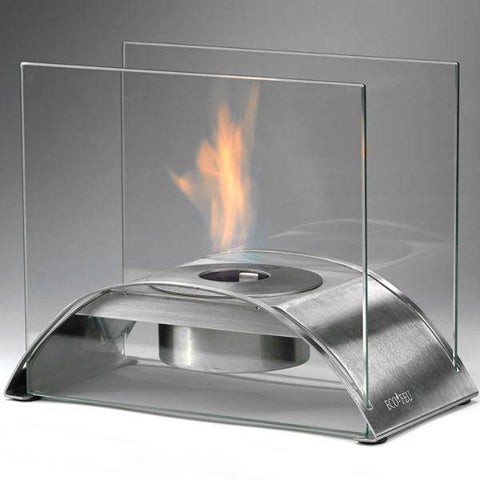 "Image of Eco-Feu Sunset 10"" Stainless Steel Tabletop Ethanol Fireplace with Fuel TT-00114-Modern Ethanol Fireplaces"
