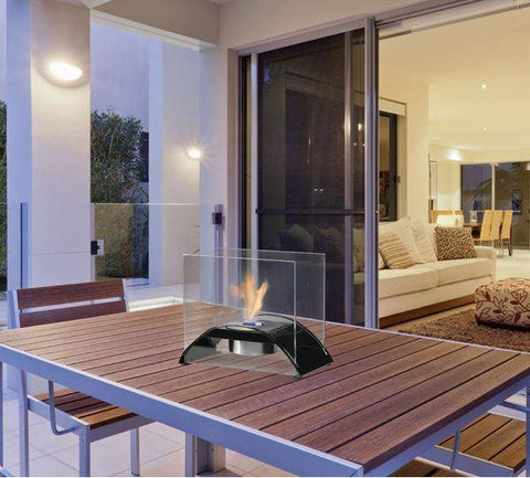 "Image of Eco-Feu Sunset 10"" Matte Black Tabletop Ethanol Fireplace with Fuel TT-00130-Modern Ethanol Fireplaces"