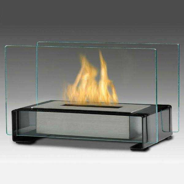 "Eco-Feu Toulouse 15"" Gloss Black Tabletop Ethanol Fireplace with Fuel TT-00140-Modern Ethanol Fireplaces"