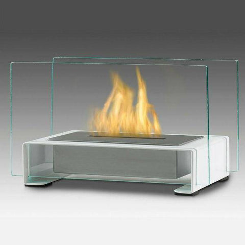 "Eco-Feu Toulouse 15"" Gloss White Tabletop Ethanol Fireplace with Fuel TT-00141-Modern Ethanol Fireplaces"