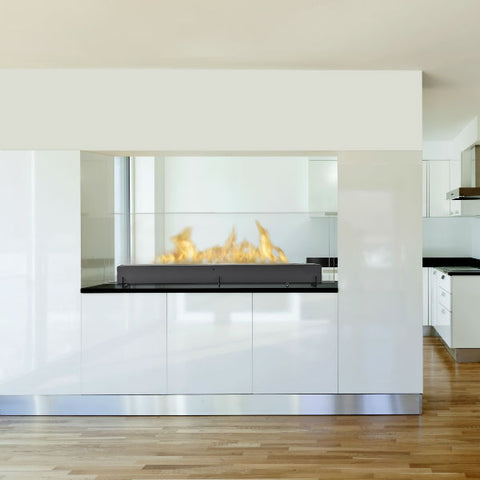 "Eco-Feu Vision III 51"" Black Freestanding Ethanol Fireplace w/ Spout WS-00098-Modern Ethanol Fireplaces"