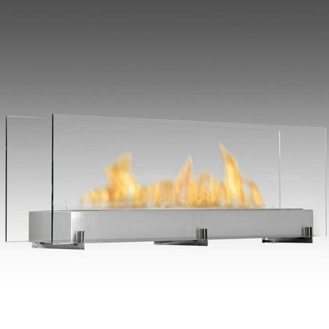 "Image of Eco-Feu Vision III 51"" Stainless Freestanding Ethanol Fireplace w/ Spout WS-00097-Modern Ethanol Fireplaces"