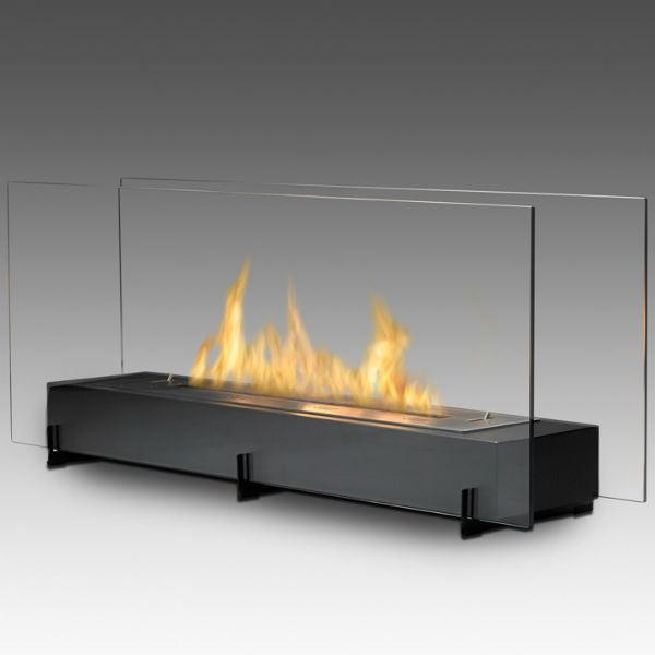 "Eco-Feu Vision II 38"" Black Freestanding Ethanol Fireplace w/ Spout WS-00096-Modern Ethanol Fireplaces"