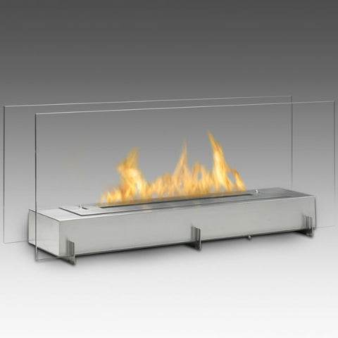 "Image of Eco-Feu Vision II 38"" Stainless Freestanding Ethanol Fireplace w/ Spout WS-00095-Modern Ethanol Fireplaces"