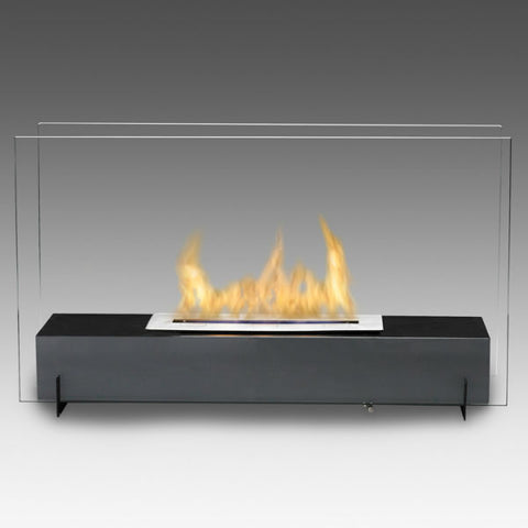"Eco-Feu Vision I 28"" Black Freestanding Ethanol Fireplace w/ Spout WS-00094-Modern Ethanol Fireplaces"
