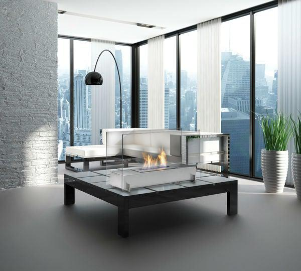 "Eco-Feu Vision I 28"" Stainless Freestanding Ethanol Fireplace w/ Spout WS-00093-Modern Ethanol Fireplaces"