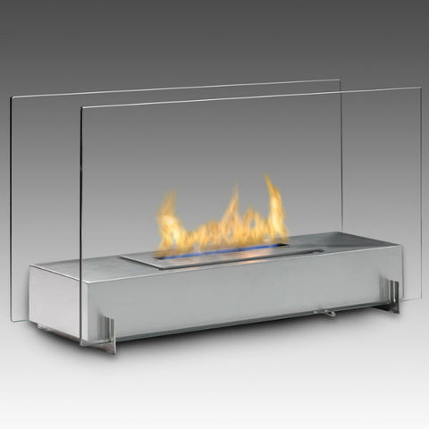 "Image of Eco-Feu Vision I 28"" Stainless Freestanding Ethanol Fireplace w/ Spout WS-00093-Modern Ethanol Fireplaces"