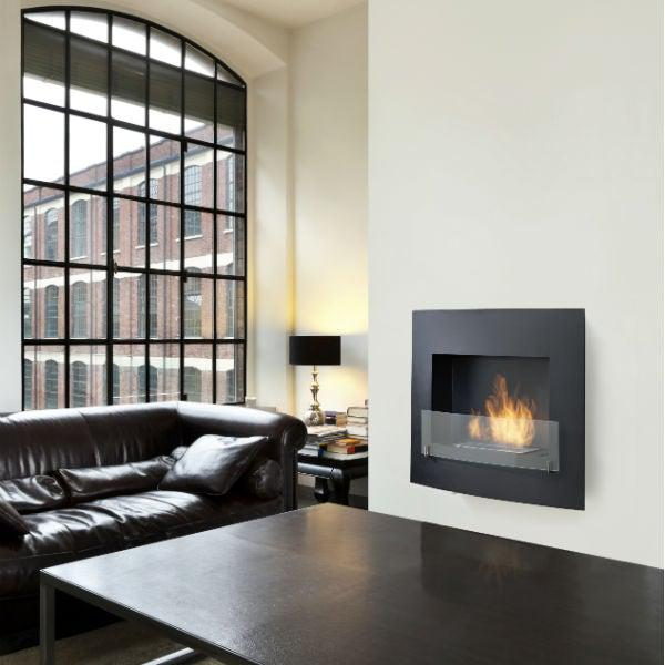 "Eco-Feu Wynn 35"" Black Wall Mounted Ethanol Fireplace w/ Spout WU-00071-Modern Ethanol Fireplaces"