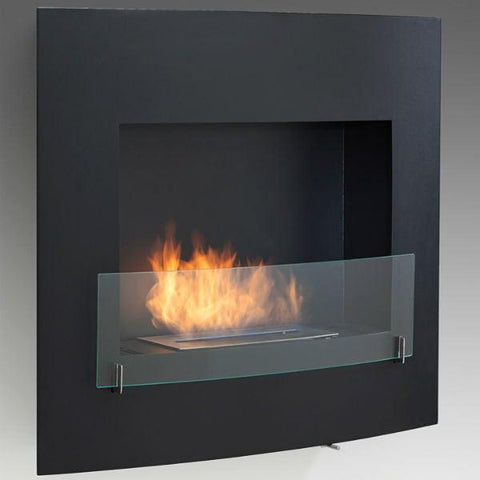 "Image of Eco-Feu Wynn 35"" Black Wall Mounted Ethanol Fireplace w/ Spout WU-00071-Modern Ethanol Fireplaces"