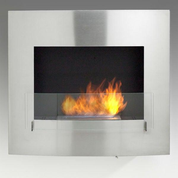 "Eco-Feu Wynn 35"" Stainless Wall Mounted Ethanol Fireplace w/ Spout WU-00072-Modern Ethanol Fireplaces"