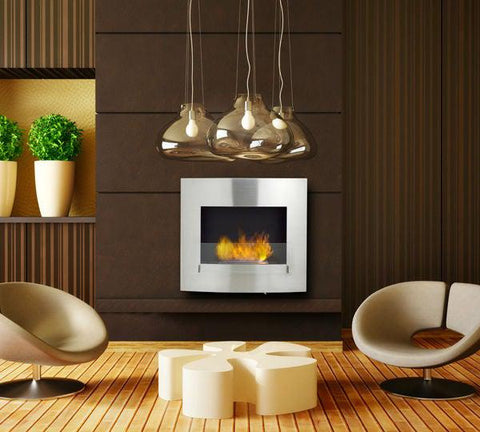 "Image of Eco-Feu Wynn 35"" Stainless Wall Mounted Ethanol Fireplace w/ Spout WU-00072-Modern Ethanol Fireplaces"