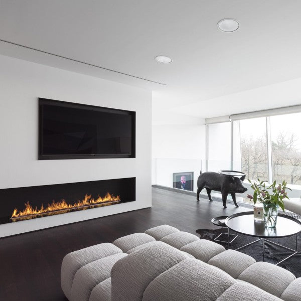 "Planika Forma Single Sided 48"" Black Firebox Ethanol Fireplace w/ Remote Control-Modern Ethanol Fireplaces"