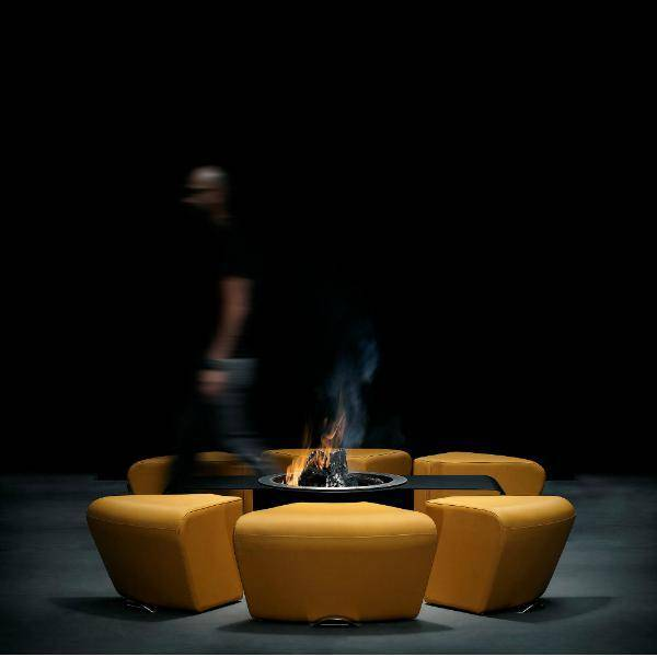 GlammFire Circus Outdoor Fire Pit with Benches - 15 inches-Modern Ethanol Fireplaces