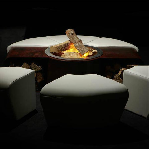 Image of GlammFire Circus Outdoor Fire Pit with Benches - 15 inches-Modern Ethanol Fireplaces