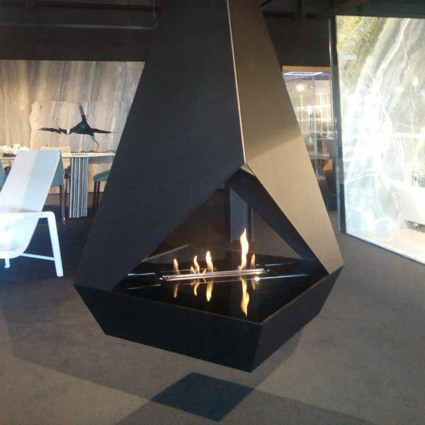GlammFire Eudoxus Hanging Ethanol Fireplace - 86 inches-Modern Ethanol Fireplaces