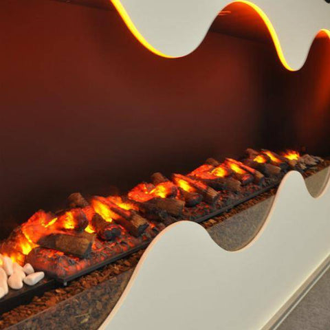 GlammFire Glamm Kit 3D Plus 1000 Electric Fireplace with Decorative Wood-Modern Ethanol Fireplaces