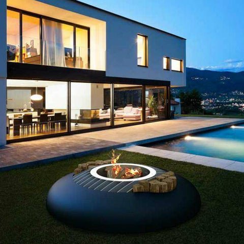 GlammFire Mime Fire Pit with Crea7ion EVO Plus Round Burner-Modern Ethanol Fireplaces