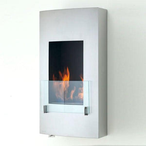 "Eco-Feu Hollywood 18"" Stainless Steel Wall Mounted Ethanol Fireplace WU-00070-Modern Ethanol Fireplaces"