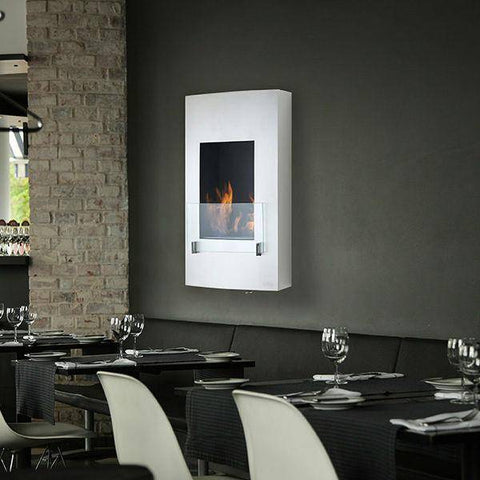 "Image of Eco-Feu Hollywood 18"" Stainless Steel Wall Mounted Ethanol Fireplace WU-00070-Modern Ethanol Fireplaces"