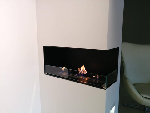 Decoflame Montreal 3-Sided Recessed Manual Ethanol Fireplace-Modern Ethanol Fireplaces