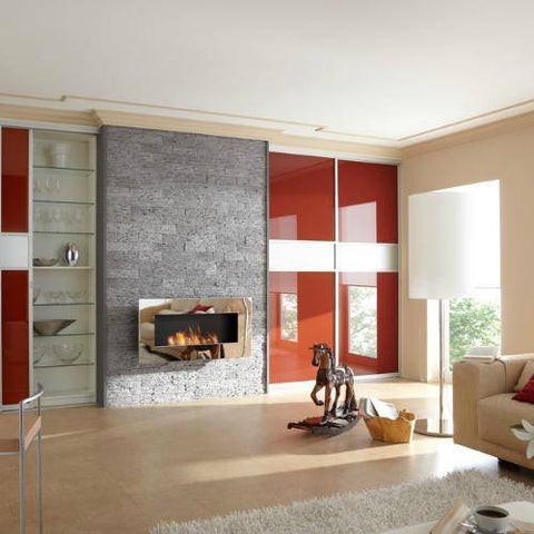 Image of Decoflame New York Empire Wall Fireplace (Brushed Stainless Steel)-Modern Ethanol Fireplaces