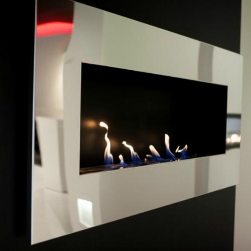 Decoflame New York Empire Wall Fireplace (Brushed Stainless Steel)-Modern Ethanol Fireplaces